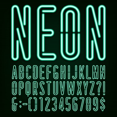 Neon Green Light Alphabet Vector Font.