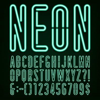 Neon Green Light Alphabet Vector Font.