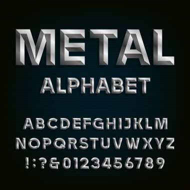 Metal Beveled Font. Vector Alphabet.
