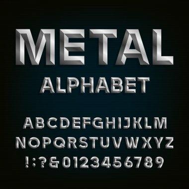 Metal Beveled Font. Vector Alphabet.