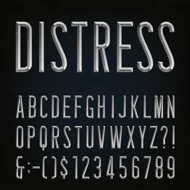 Metal Beveled Distressed Narrow Font. Vector Alphabet.