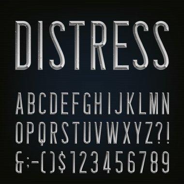 Metal Beveled Distressed Narrow Font. Vector Alphabet.