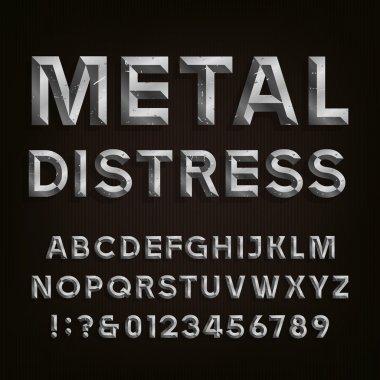 Metal Beveled Distressed Font. Vector Alphabet.