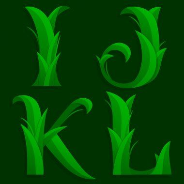 Decorative Grass Initial Letters I, J, K, L.