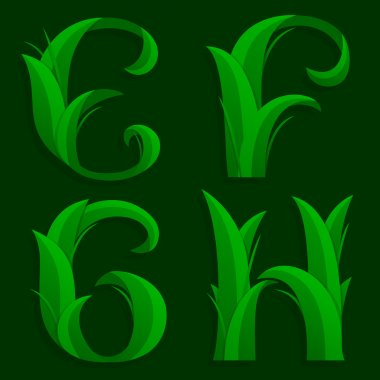 Decorative Grass Initial Letters E,  F, G, H.