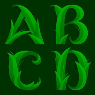 Decorative Grass Initial Letters A, B, C, D.