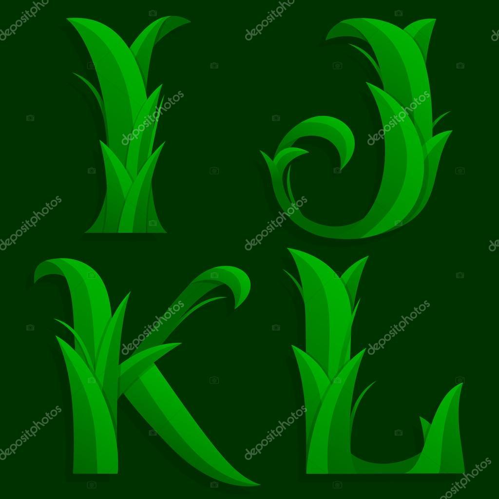 Decorative Grass Initial Letters I, J, K, L.