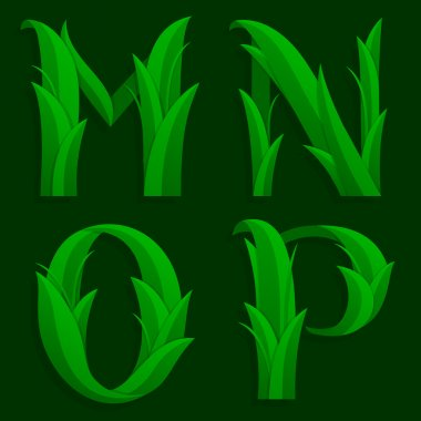 Decorative Grass Initial Letters M, N, O, P.