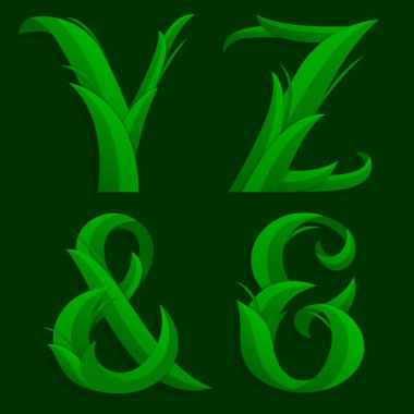 Decorative Grass Initial Letters Y, Z, ampersand.