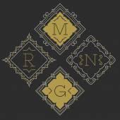 Fotografie The set of stylish graceful monogram emblem templates. Vector illustration.