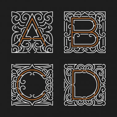 The set of stylish monogram emblem templates. Letters A, B, C, D. Vector illustration.