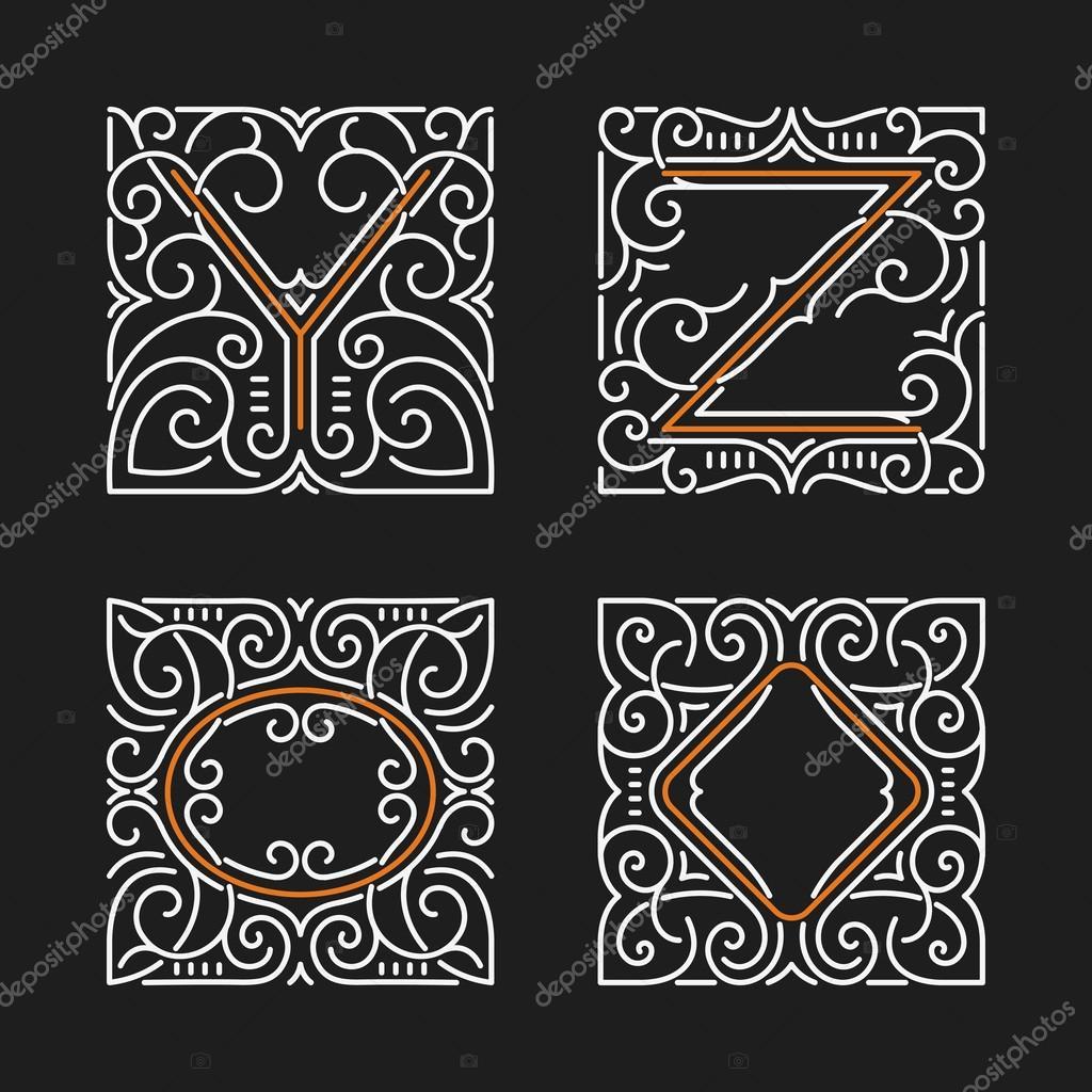 El conjunto de emblemas monograma elegante. Letras Y, Ilustración de ...