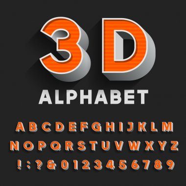 3D retro type font with shadow. Vector Alphabet.
