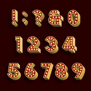 Retro Light Bulb Alphabet Vector Font. Part 3 of 3. Numbers and symbols.