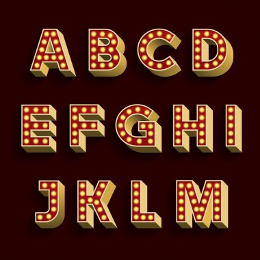 Retro Light Bulb Alphabet Vector Font. Part 1 of 3. Letters A - M.