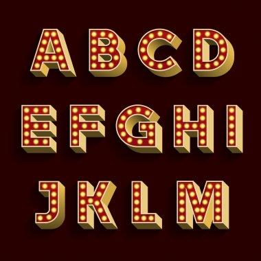 Retro Light Bulb Alphabet Vector Font. Part 1 of 3. Letters A - M.