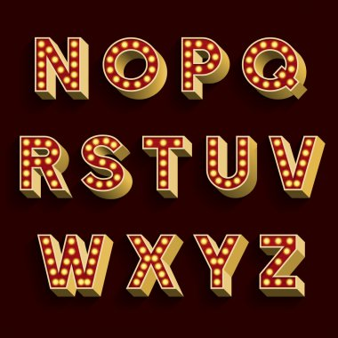 Retro Light Bulb Alphabet Vector Font. Part 2 of 3. Letters N - Z.