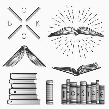 Vintage set of book store logos, labels and design elements. Stock vector.