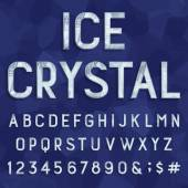 Photo Crystal ice type font. Vector Alphabet.