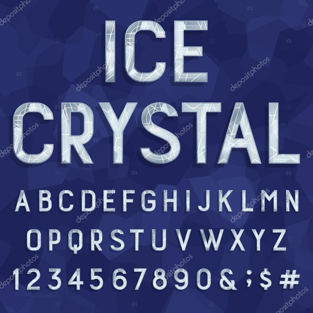 Crystal ice type font. Vector Alphabet.