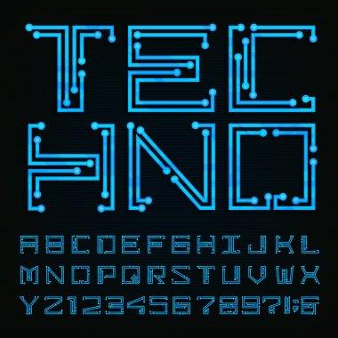 Techno type font. Vector Alphabet.