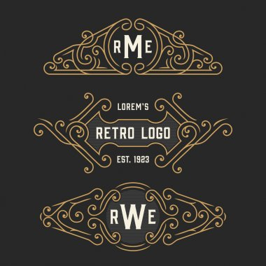 The set of stylish retro logo and emblem templates. Stock vector.