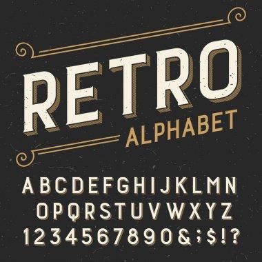 Retro alphabet vector font.