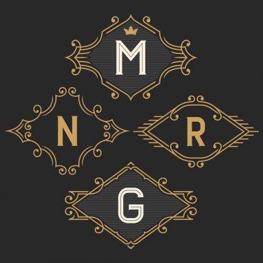 The set of elegant vintage monogram emblem and logo templates.