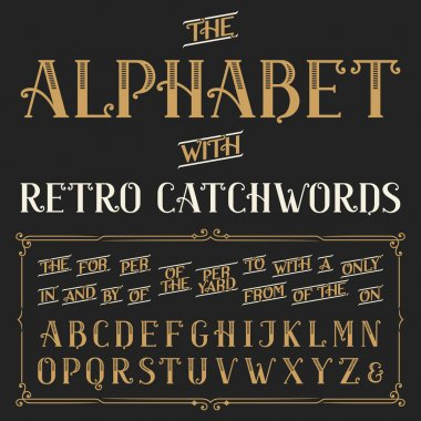 Retro alphabet vector font with catchwords.