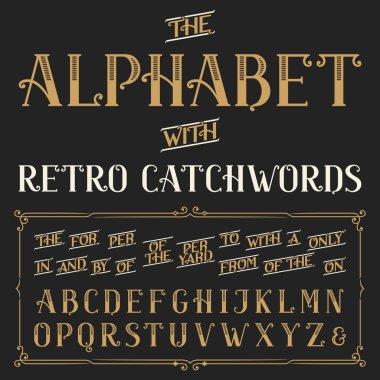 Retro alphabet vector font with catchwords.