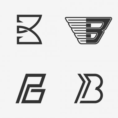The set of letter B sign, logo, icon design template elements.