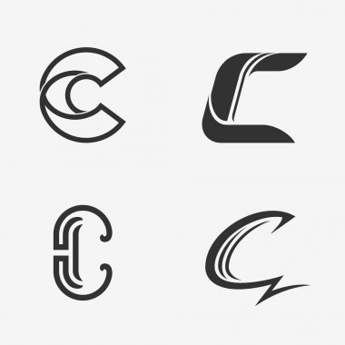 The set of letter C sign, logo, icon design template elements.