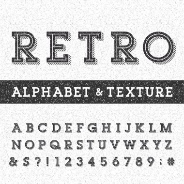 Retro alphabet vector font with distressed overlay texture.