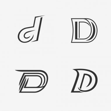 The set of letter D sign, logo, icon design template elements. One color. Stock vector. stock vector