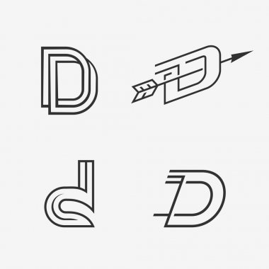 The set of letter D sign, logo, icon design template elements.