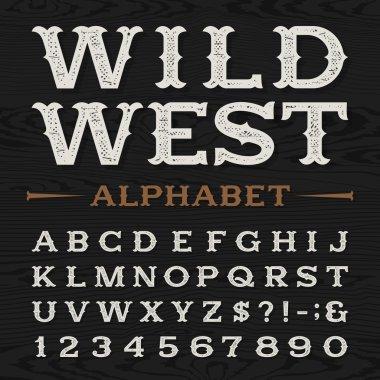 Western retro dirty alphabet vector font.