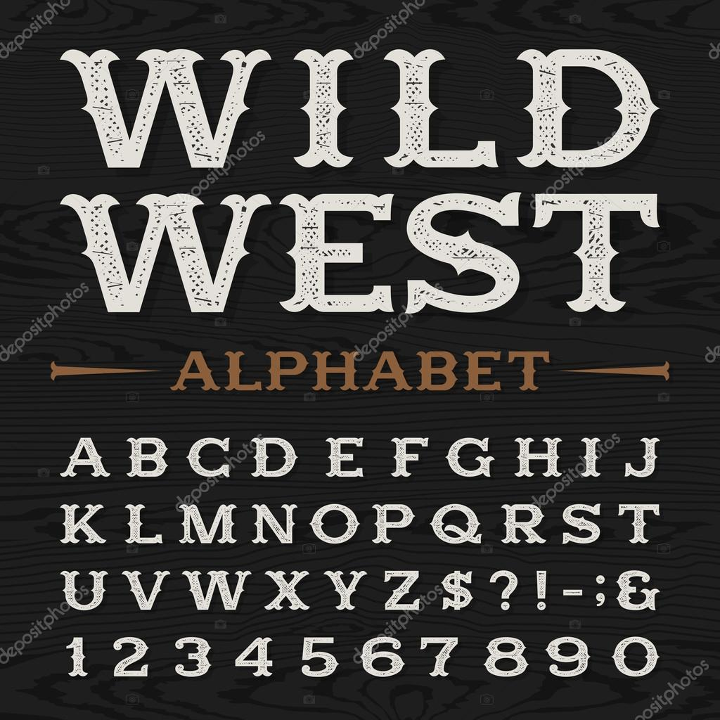 Western Retro Dirty Alphabet Vector Font Stock