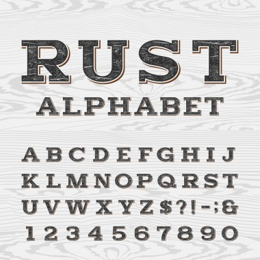 Retro distressed alphabet vector font.