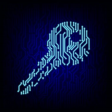 Security concept. Circuit board key vector illustration.