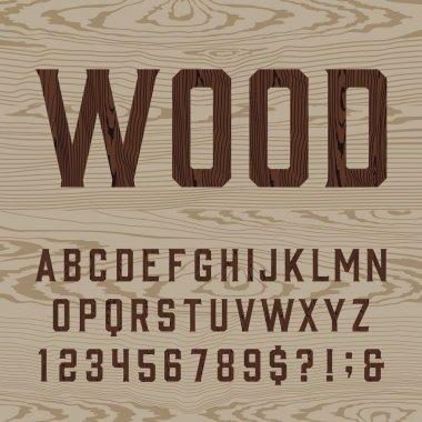 Wooden retro alphabet vector font.