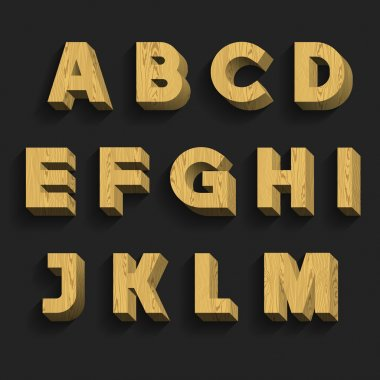 Wood Alphabet Vector Font. Part 1 of 3. Letters A - M.