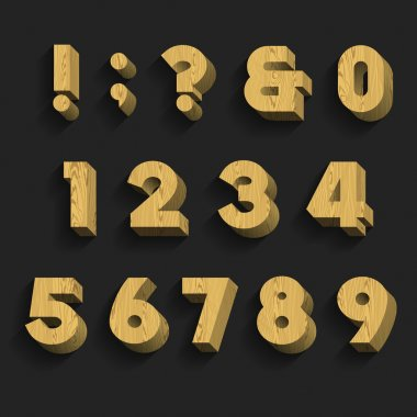 Wood Alphabet Vector Font. Part 3 of 3. Numbers and symbols.