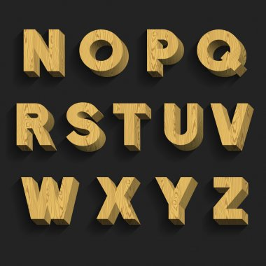 Wood Alphabet Vector Font. Part 2 of 3. Letters N - Z.