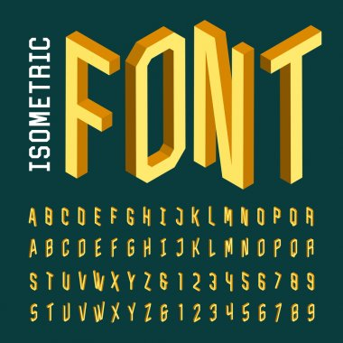 Isometric alphabet vector font.