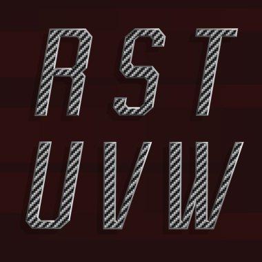 Carbon fiber Alphabet Vector Font. Part 4 of 6. Letters R - W.