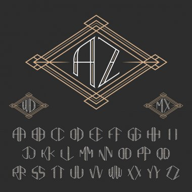 Two letters decorative monogram template.