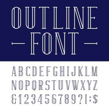 Decorative outline alphabet vector font.