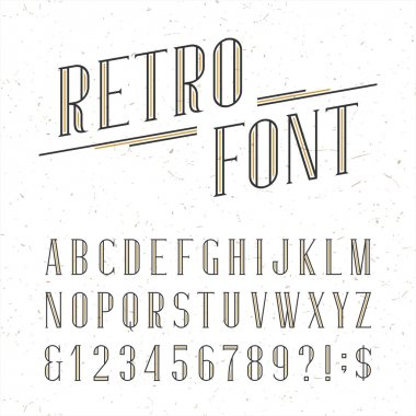 Decorative retro alphabet vector font.