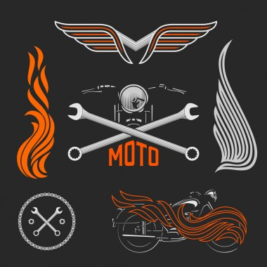 Vintage set of motorcycle logos, labels and design elements. Stock vector.