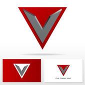 Fotografia struttura lettera v logo icona - segno di vettore. modelli di business card
